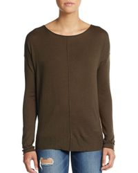 VINCE | Green Long-sleeve Silk & Cashmere Boatneck Sweater | Lyst