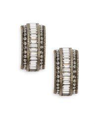 Heidi Daus - Blue Gigi Swarovski Crystal Huggie Earrings/goldtone - Lyst