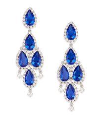CZ by Kenneth Jay Lane - Blue Pear Stone Chandelier Drop Earrings/silvertone - Lyst