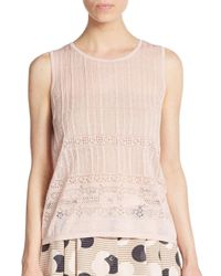 1.STATE - Pink Pointelle Knit Top - Lyst