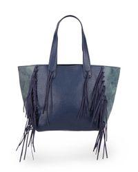 Urban Originals | Blue Piper Fringe Faux Leather Tote Bag | Lyst