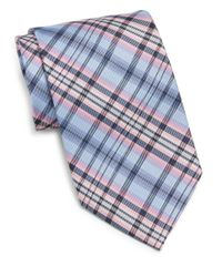 Burma Bibas - Blue Plaid Silk Tie for Men - Lyst