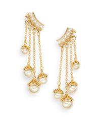 Rebecca Minkoff - Metallic Pearl Affair 12k Goldplated Chain Drop Earrings - Lyst