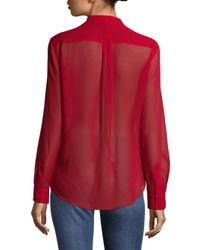 BCBGMAXAZRIA - Red Anderson Sheer Silk Blouse - Lyst