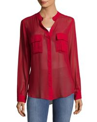 BCBGMAXAZRIA | Red Anderson Sheer Silk Blouse | Lyst