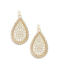 Ak Anne Klein | Metallic Social Glitz Lasercut Teardrop Earrings/goldtone | Lyst