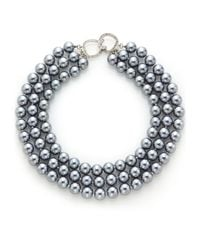Kenneth Jay Lane - Gray Three-row Simulated Pearl Necklace - Lyst