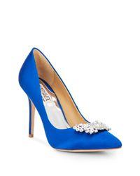 Badgley Mischka | Blue Serra Jeweled Satin Point Toe Pumps | Lyst