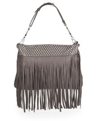 Ash | Gray Zappa Fringed Leather Hobo | Lyst