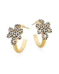 "Freida Rothman | Metallic Love Knot Hoop Earrings/1"" | Lyst"