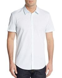 Calvin Klein - White Grid Print Cotton Shirt for Men - Lyst