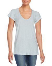 James Perse | Blue V-neck Cotton & Modal Tee | Lyst