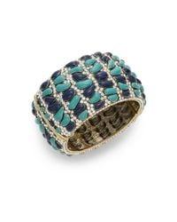 Heidi Daus | Blue Wrapped In Sparkle Swarovski Crystal Hinge Bracelet/goldtone | Lyst