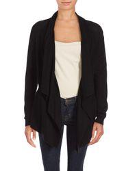 VINCE | Black Rib-knit Asymmetrical Cardigan | Lyst