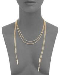 Saks Fifth Avenue - Metallic Pavé Spike Double Row Lariat Necklace/gold - Lyst