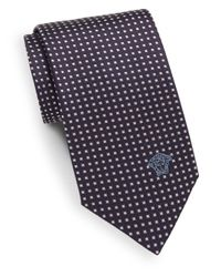 Versace - Blue Square-print Silk Tie for Men - Lyst