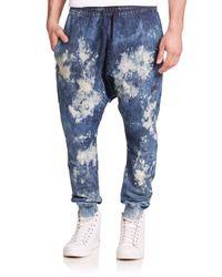 PRPS - Blue Halley Bleached Denim Sweatpants for Men - Lyst