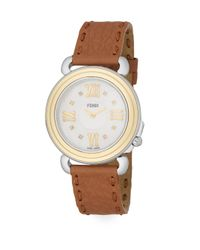 Fendi | Multicolor Selleria Diamond, Mother-of-pearl, Goldtone Stainless Steel & Leather Strap Watch | Lyst