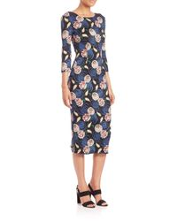 SUNO - Blue Backless Floral-print Dress - Lyst