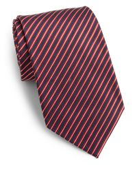 Saks Fifth Avenue | Red Narrow Striped Silk Tie for Men | Lyst