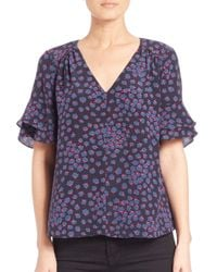 Rebecca Taylor - Purple Aster Silk Floral-print Top - Lyst