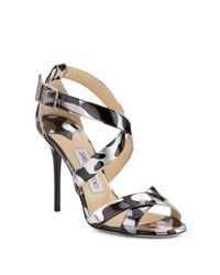 Jimmy Choo | White Lottie Metallic Leopard-print Leather Sandals | Lyst