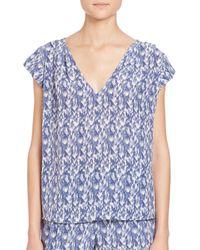 Joie - Blue Faela Silk Feather-print Blouse - Lyst