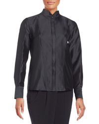 Donna Karan | Black Silk-blend Stand Collar Jacket | Lyst