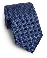 Saks Fifth Avenue - Blue Diamond Print Silk Tie for Men - Lyst