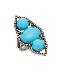 Bavna - Metallic Turquoise, Pave Diamond & Sterling Silver Ring - Lyst
