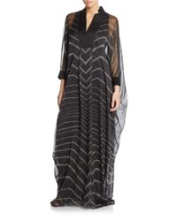 Halston | Black Chevron Striped Caftan Dress | Lyst