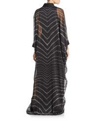 Halston - Black Chevron Striped Caftan Dress - Lyst