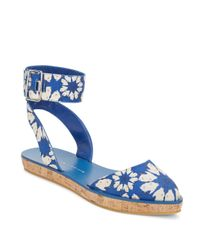 Alice + Olivia | Blue Reese Floral-print Ankle-strap Flatforms | Lyst