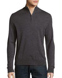 Saks Fifth Avenue   Gray Zip-up V-neck Merino Wool Sweater for Men   Lyst