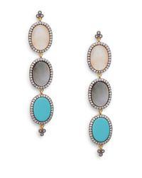 Freida Rothman | Blue Three-stone Oval Drop Earrings | Lyst