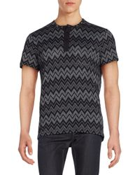 Versace Jeans | Black Chevron-print Henley Top for Men | Lyst