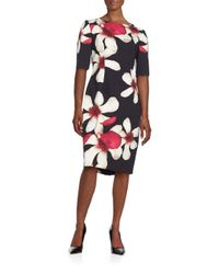 Carolina Herrera - Black Bordered Floral Print Shirt Dress - Lyst