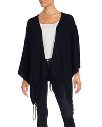 Saks Fifth Avenue | Black Wool & Cashmere Fringed Poncho | Lyst