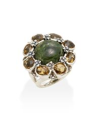 Stephen Dweck | Metallic Newbury Chrome Diopside Cabochon, Yellow Quartz & Sterling Silver Flower Ring | Lyst