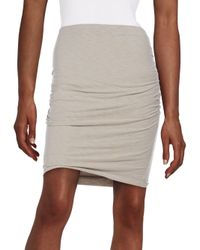 James Perse | Gray Ruched Pencil Skirt | Lyst