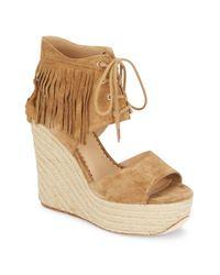 Ash | Purple Belinda Fringed Suede Espadrille Wedge Sandals | Lyst
