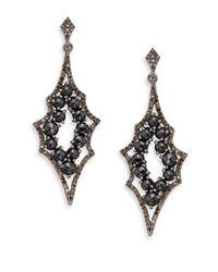 Bavna - 1.53 Tcw Diamonds, 8.47 Ct Black Spinel & Sterling Silver Earrings - Lyst