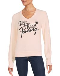 Wildfox | Pink Just Keep Pouring Graphic Sweater | Lyst