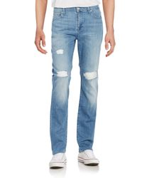 7 For All Mankind | Blue Standard Distressed Straight-leg Jeans for Men | Lyst