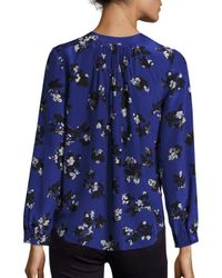 Rebecca Taylor - Blue Alyssum Floral Print-silk Blouse - Lyst