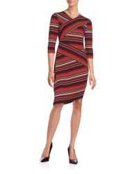 Eci - Red Striped Sheath Dress - Lyst