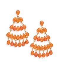 Kenneth Jay Lane | Orange Chandlier Earrings | Lyst