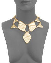 Kenneth Jay Lane - Metallic Triangle & Diamond Bib Necklace - Lyst