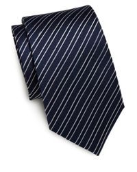 Saint Laurent - Black Striped Silk Tie for Men - Lyst