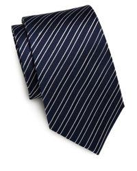 Saint Laurent | Black Striped Silk Tie for Men | Lyst